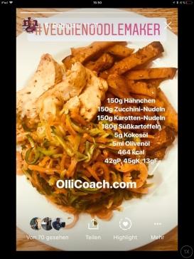 Hähnchen mit Zucchini- und Karottennudeln