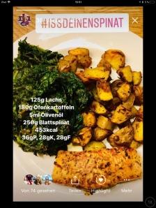 Lachs mit Spinat und Ofenkartoffeln